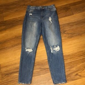 H&M Divided Distressed Skinny Ankle Blue Jeans 6